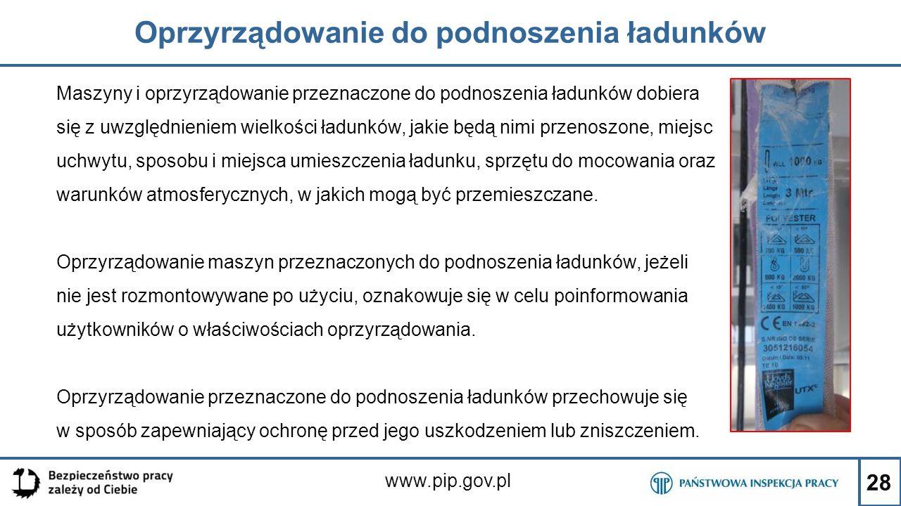 28 Oprzyrządowanie do podnoszenia ładunków www.pip.gov.pl Maszyny i oprzyrządowanie przeznaczone do podnoszenia ładunków dobiera się z uwzględnieniem