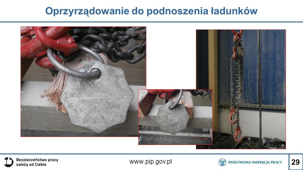 29 Oprzyrządowanie do podnoszenia ładunków www.pip.gov.pl