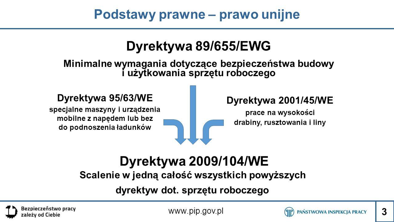 3 Podstawy prawne – prawo unijne www.pip.gov.pl Dyrektywa 95/63/WE specjalne maszyny i urządzenia mobilne z napędem lub bez do podnoszenia ładunków Dy