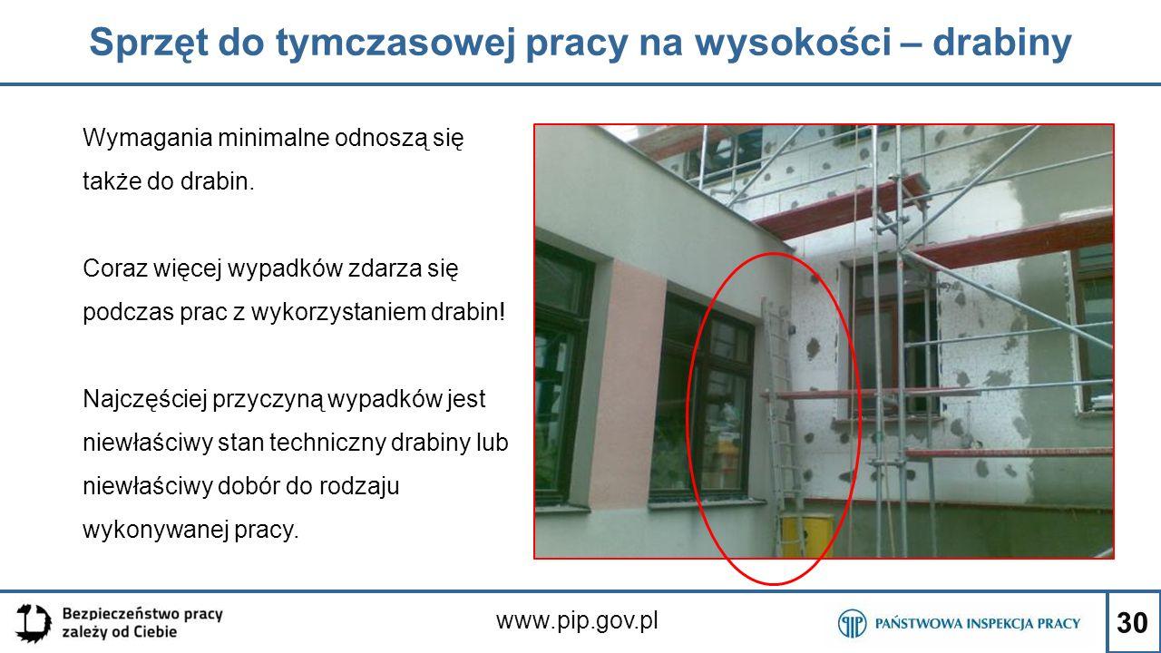 30 Sprzęt do tymczasowej pracy na wysokości – drabiny www.pip.gov.pl Wymagania minimalne odnoszą się także do drabin. Coraz więcej wypadków zdarza się