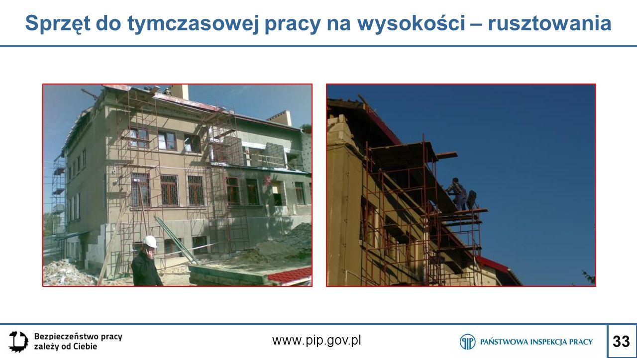 33 Sprzęt do tymczasowej pracy na wysokości – rusztowania www.pip.gov.pl