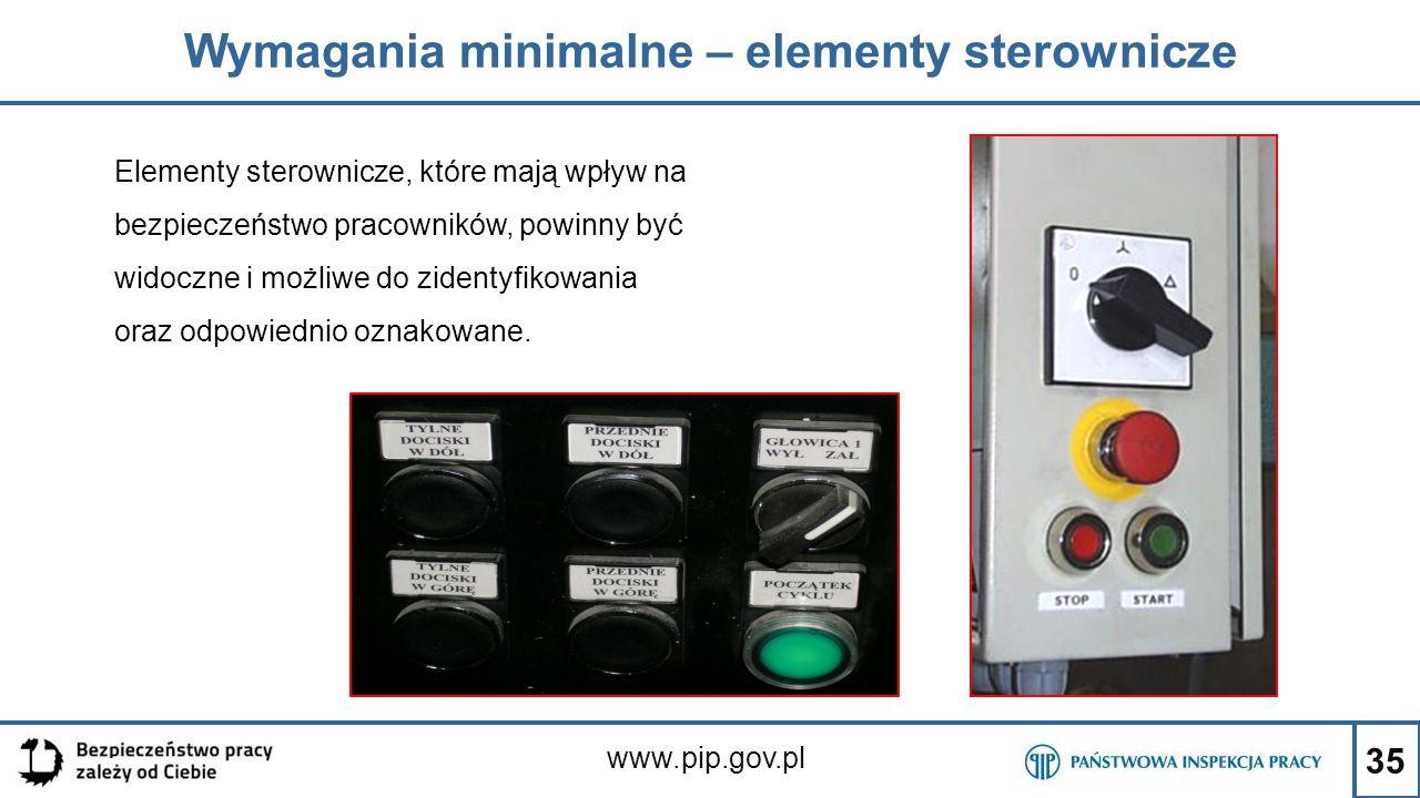 35 Wymagania minimalne – elementy sterownicze www.pip.gov.pl Elementy sterownicze, które mają wpływ na bezpieczeństwo pracowników, powinny być widoczn