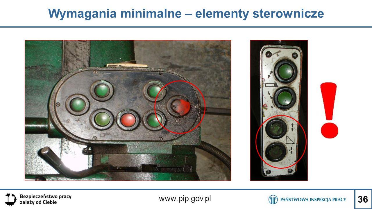 36 Wymagania minimalne – elementy sterownicze www.pip.gov.pl