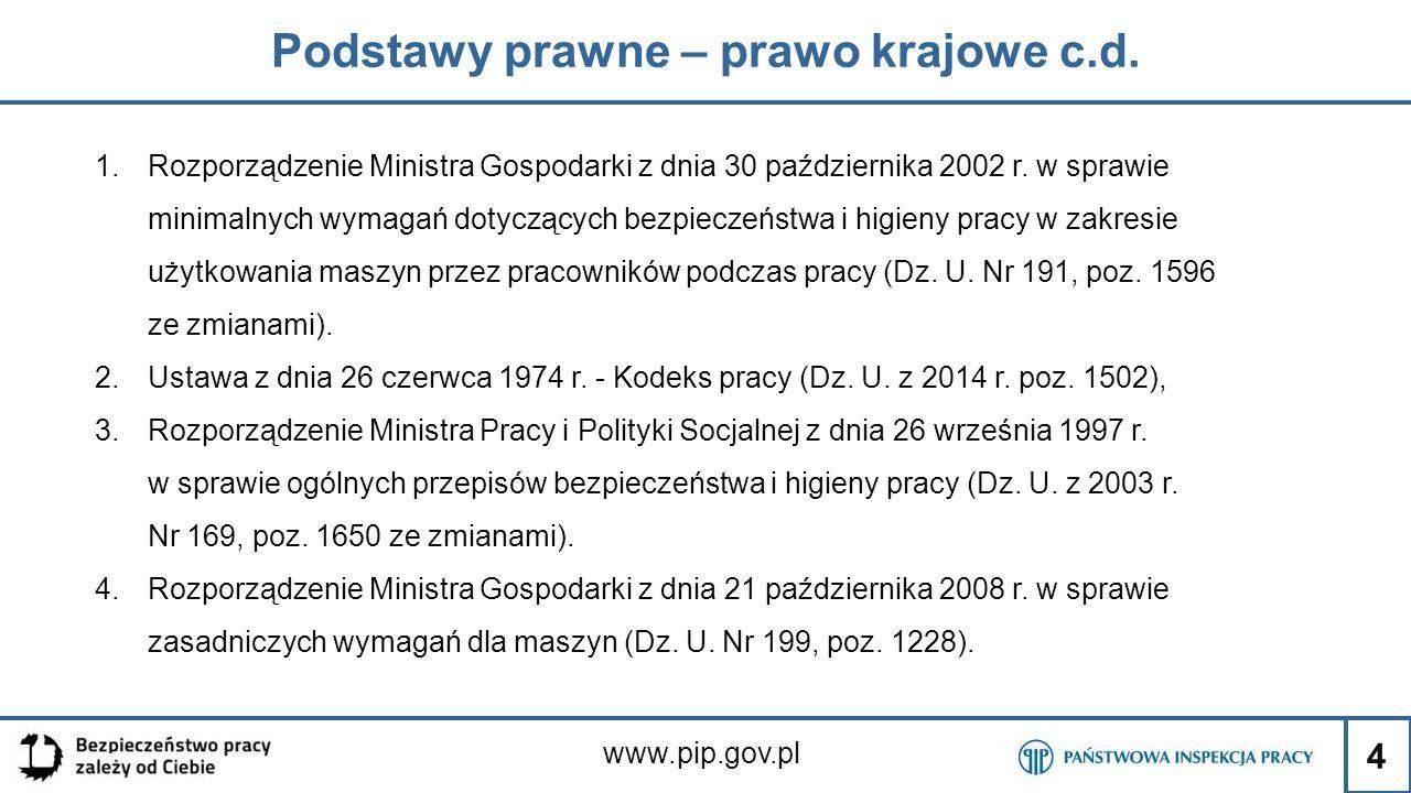 4 Podstawy prawne – prawo krajowe c.d. www.pip.gov.pl 1.Rozporządzenie Ministra Gospodarki z dnia 30 października 2002 r. w sprawie minimalnych wymaga