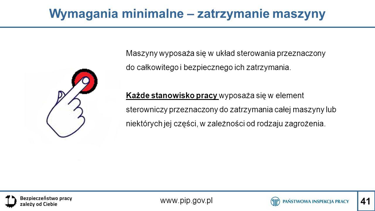41 Wymagania minimalne – zatrzymanie maszyny www.pip.gov.pl Maszyny wyposaża się w układ sterowania przeznaczony do całkowitego i bezpiecznego ich zat