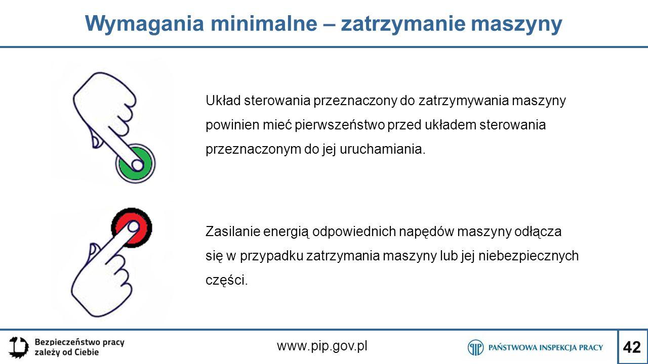 42 Wymagania minimalne – zatrzymanie maszyny www.pip.gov.pl Układ sterowania przeznaczony do zatrzymywania maszyny powinien mieć pierwszeństwo przed u