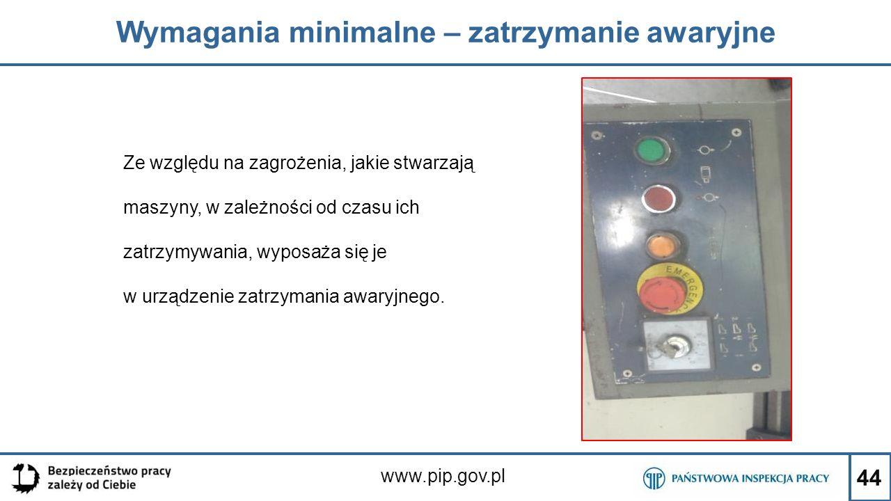 44 Wymagania minimalne – zatrzymanie awaryjne www.pip.gov.pl Ze względu na zagrożenia, jakie stwarzają maszyny, w zależności od czasu ich zatrzymywani