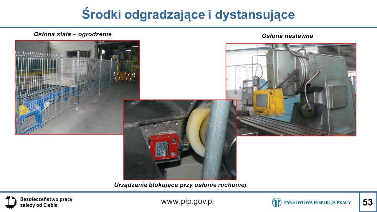 53 Środki odgradzające i dystansujące www.pip.gov.pl Osłona stała – ogrodzenie Osłona nastawna Urządzenie blokujące przy osłonie ruchomej