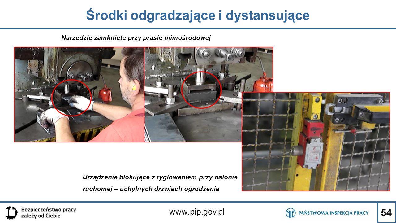 54 Środki odgradzające i dystansujące www.pip.gov.pl Narzędzie zamknięte przy prasie mimośrodowej Urządzenie blokujące z ryglowaniem przy osłonie ruch