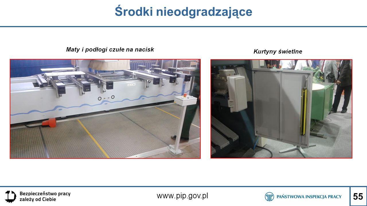 55 Środki nieodgradzające www.pip.gov.pl Maty i podłogi czułe na nacisk Kurtyny świetlne