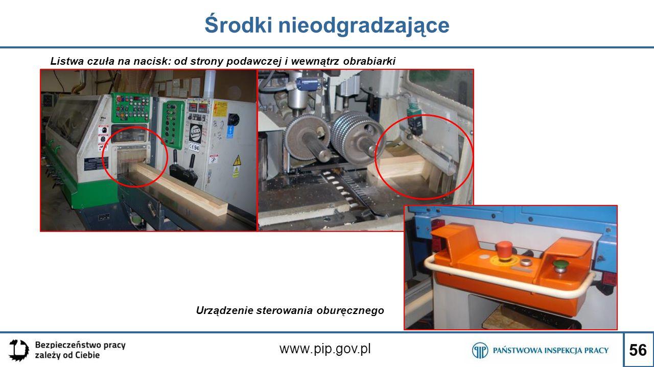 56 Środki nieodgradzające www.pip.gov.pl Listwa czuła na nacisk: od strony podawczej i wewnątrz obrabiarki Urządzenie sterowania oburęcznego