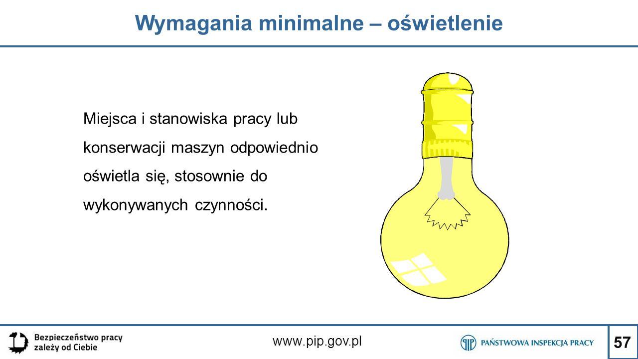 57 Wymagania minimalne – oświetlenie www.pip.gov.pl Miejsca i stanowiska pracy lub konserwacji maszyn odpowiednio oświetla się, stosownie do wykonywan