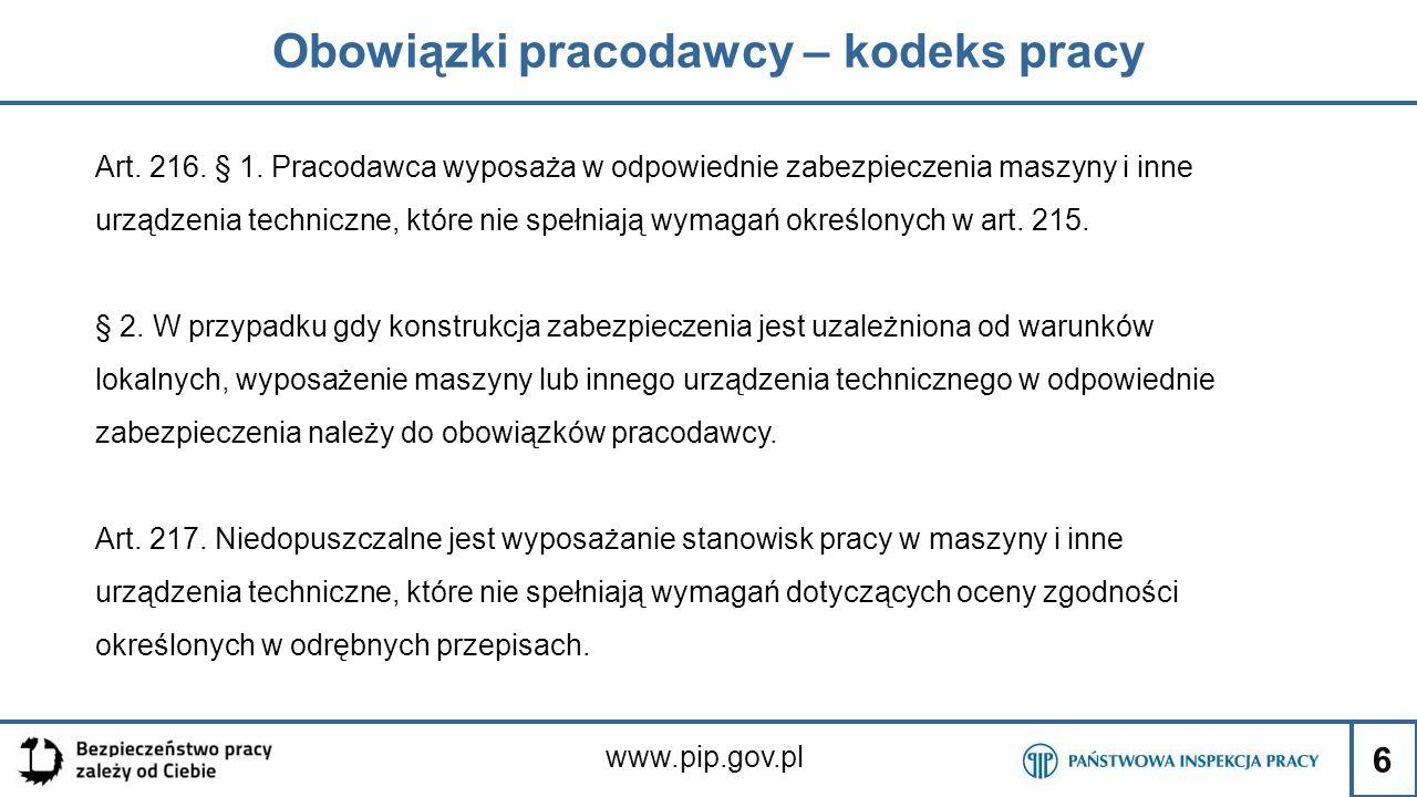 6 Obowiązki pracodawcy – kodeks pracy www.pip.gov.pl Art. 216. § 1. Pracodawca wyposaża w odpowiednie zabezpieczenia maszyny i inne urządzenia technic