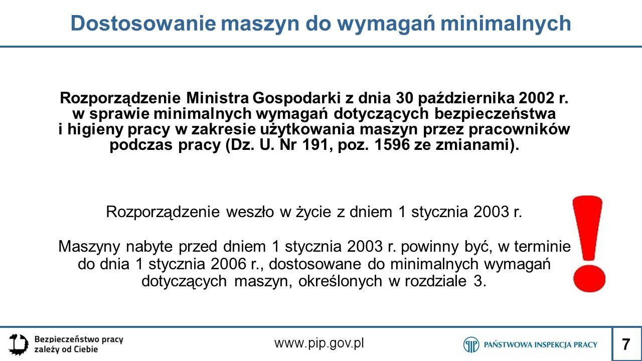 7 Dostosowanie maszyn do wymagań minimalnych www.pip.gov.pl Rozporządzenie Ministra Gospodarki z dnia 30 października 2002 r. w sprawie minimalnych wy
