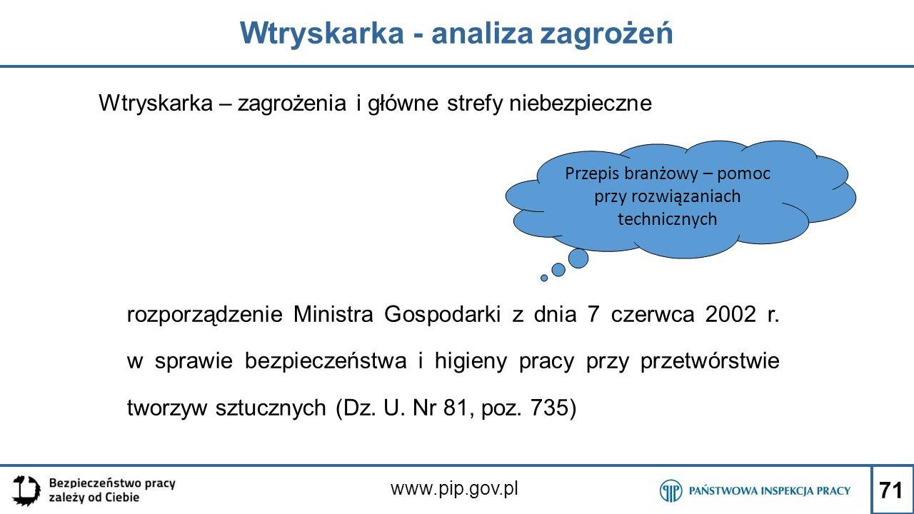 71 Wtryskarka - analiza zagrożeń www.pip.gov.pl Wtryskarka – zagrożenia i główne strefy niebezpieczne rozporządzenie Ministra Gospodarki z dnia 7 czer