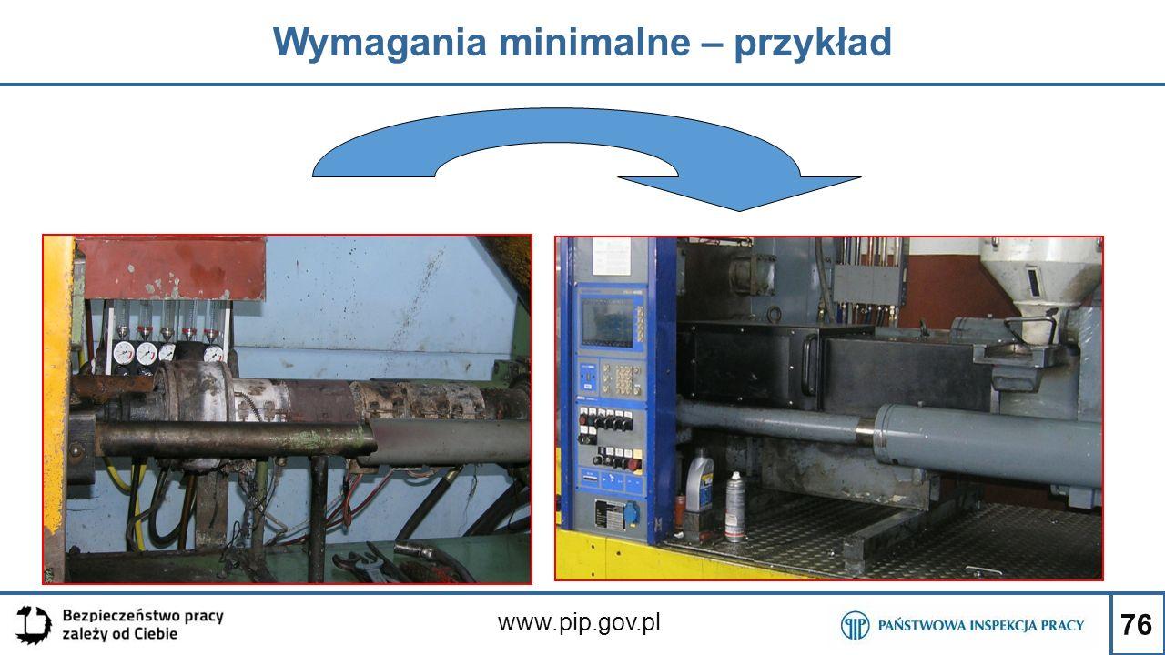 76 Wymagania minimalne – przykład www.pip.gov.pl
