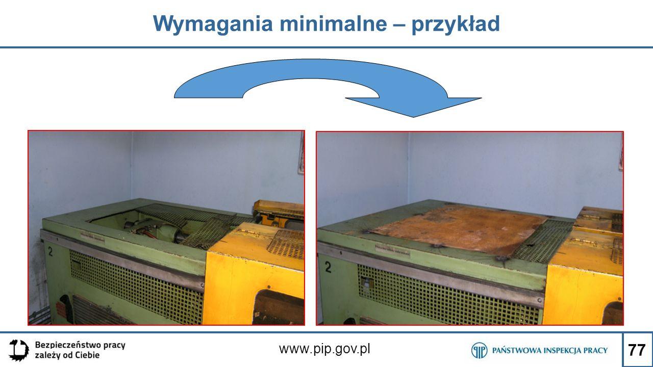77 Wymagania minimalne – przykład www.pip.gov.pl