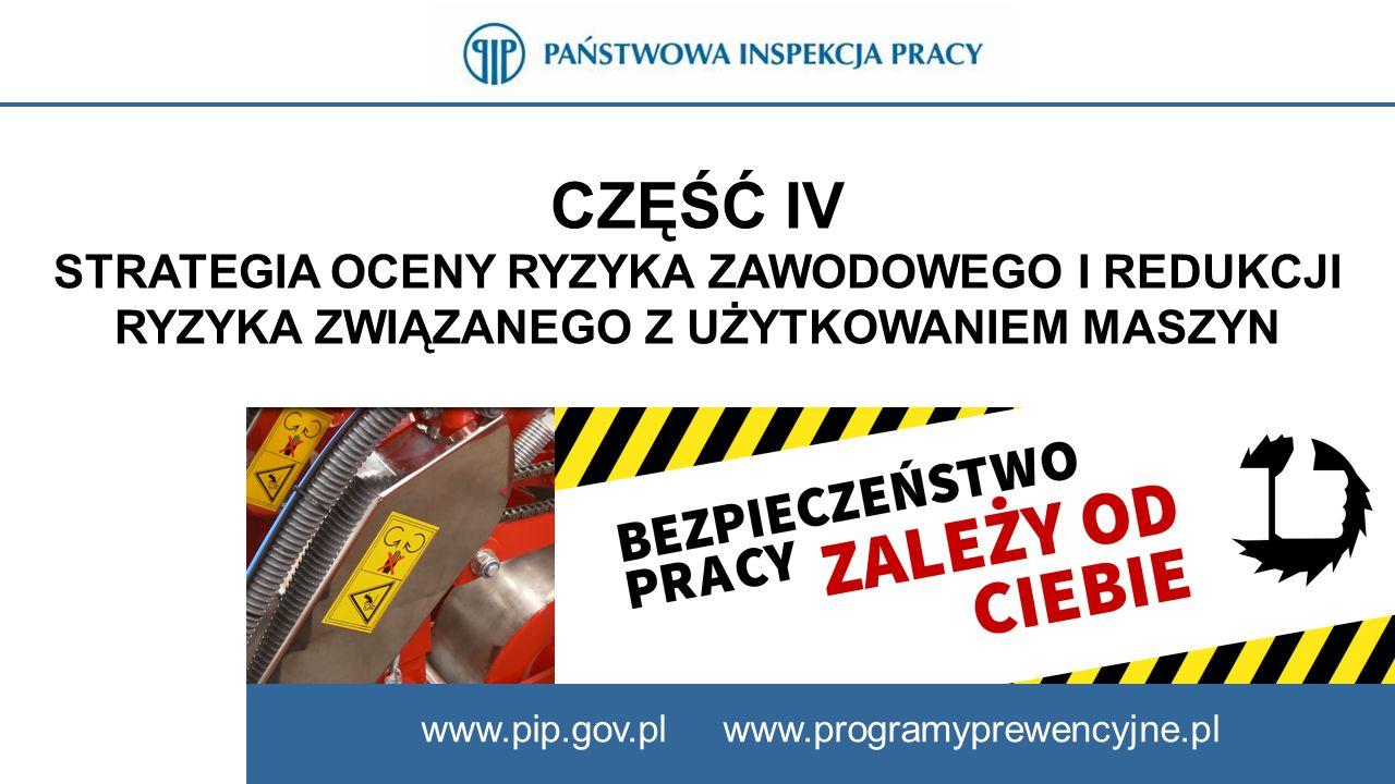 CZĘŚĆ IV STRATEGIA OCENY RYZYKA ZAWODOWEGO I REDUKCJI RYZYKA ZWIĄZANEGO Z UŻYTKOWANIEM MASZYN www.pip.gov.pl www.programyprewencyjne.pl