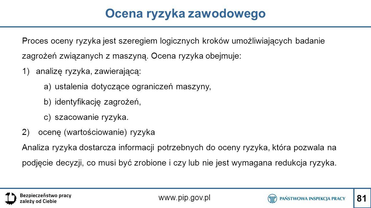 81 Ocena ryzyka zawodowego www.pip.gov.pl Proces oceny ryzyka jest szeregiem logicznych kroków umożliwiających badanie zagrożeń związanych z maszyną.