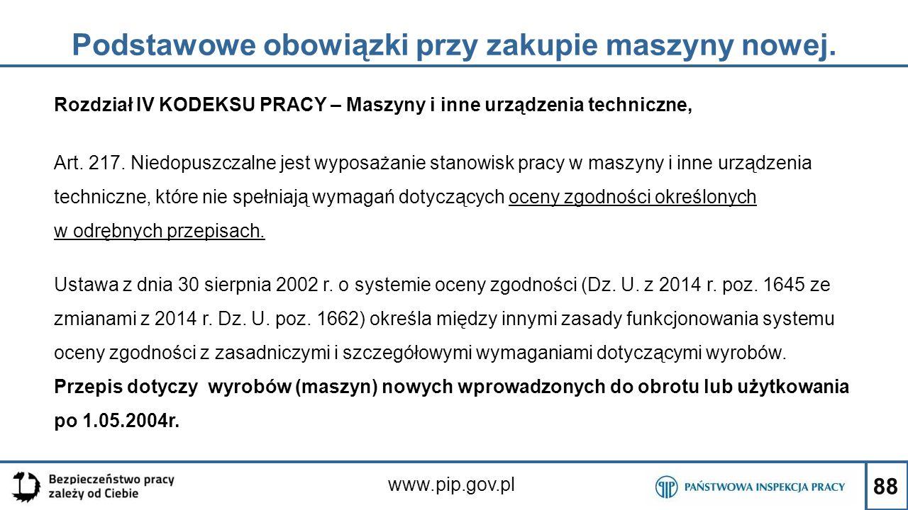 88 Podstawowe obowiązki przy zakupie maszyny nowej. www.pip.gov.pl Rozdział IV KODEKSU PRACY – Maszyny i inne urządzenia techniczne, Art. 217. Niedopu