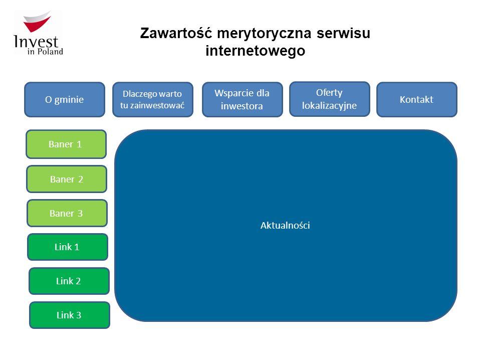 Zawartość merytoryczna serwisu internetowego O gminie Dlaczego warto tu zainwestować Wsparcie dla inwestora Oferty lokalizacyjne Kontakt Baner 1 Baner 2 Baner 3 Link 3 Link 2 Link 1 Aktualności