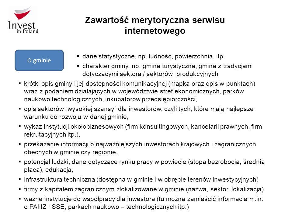 Zawartość merytoryczna serwisu internetowego O gminie  dane statystyczne, np.