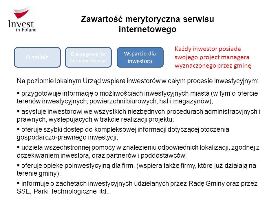 Zawartość merytoryczna serwisu internetowego O gminie Dlaczego warto tu zainwestować Wsparcie dla inwestora Na poziomie lokalnym Urząd wspiera inwestorów w całym procesie inwestycyjnym:  przygotowuje informację o możliwościach inwestycyjnych miasta (w tym o ofercie terenów inwestycyjnych, powierzchni biurowych, hal i magazynów);  asystuje inwestorowi we wszystkich niezbędnych procedurach administracyjnych i prawnych, występujących w trakcie realizacji projektu;  oferuje szybki dostęp do kompleksowej informacji dotyczącej otoczenia gospodarczo-prawnego inwestycji,  udziela wszechstronnej pomocy w znalezieniu odpowiednich lokalizacji, zgodnej z oczekiwaniem inwestora, oraz partnerów i poddostawców;  oferuje opiekę poinwestycyjną dla firm, (wspiera także firmy, które już działają na terenie gminy);  informuje o zachętach inwestycyjnych udzielanych przez Radę Gminy oraz przez SSE, Parki Technologiczne itd..