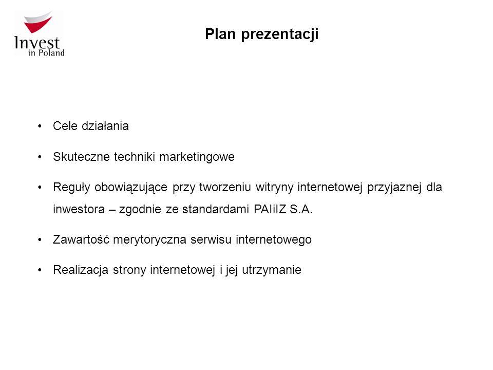 Cele działania Doskonalenie stron internetowych jako istotnego narzędzia promocji inwestycji zagranicznych w Polsce, w skali gminy.