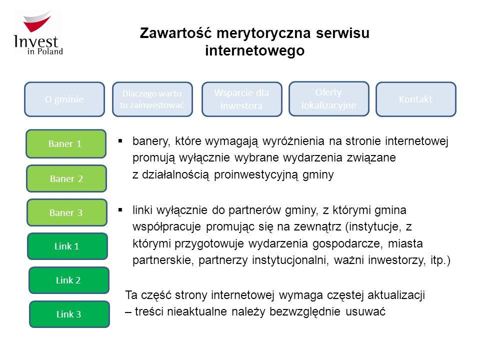 Zawartość merytoryczna serwisu internetowego O gminie Dlaczego warto tu zainwestować Wsparcie dla inwestora Oferty lokalizacyjne Kontakt Baner 1 Baner 2 Baner 3 Link 3 Link 2 Link 1  linki wyłącznie do partnerów gminy, z którymi gmina współpracuje promując się na zewnątrz (instytucje, z którymi przygotowuje wydarzenia gospodarcze, miasta partnerskie, partnerzy instytucjonalni, ważni inwestorzy, itp.)  banery, które wymagają wyróżnienia na stronie internetowej promują wyłącznie wybrane wydarzenia związane z działalnością proinwestycyjną gminy Ta część strony internetowej wymaga częstej aktualizacji – treści nieaktualne należy bezwzględnie usuwać