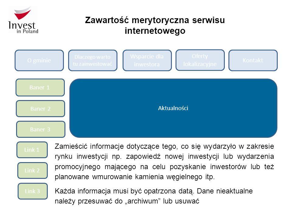 Zawartość merytoryczna serwisu internetowego O gminie Dlaczego warto tu zainwestować Wsparcie dla inwestora Oferty lokalizacyjne Kontakt Baner 1 Baner 2 Baner 3 Link 3 Link 2 Link 1 Aktualności Zamieścić informacje dotyczące tego, co się wydarzyło w zakresie rynku inwestycji np.