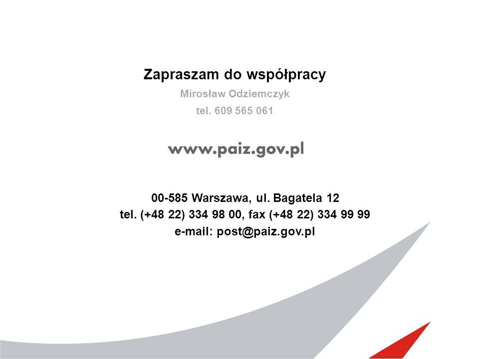 Zapraszam do współpracy Mirosław Odziemczyk tel. 609 565 061 00-585 Warszawa, ul.