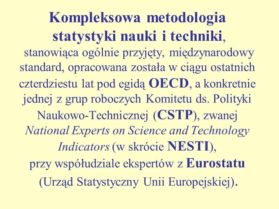 Na statystykę nauki i techniki składają się następujące działy: statystyka działalności badawczej i rozwojowej (B+R), statystyka innowacji, statystyka patentów, bilans płatniczy w dziedzinie techniki (TBP), tzw.