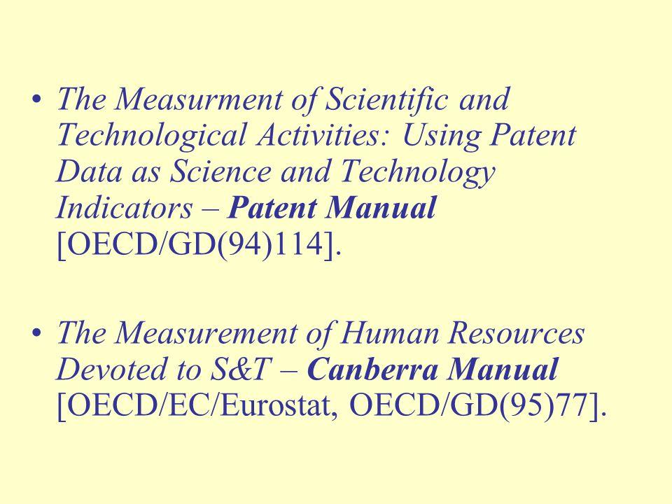 W skali międzynarodowej głównym źródłem danych z zakresu statystyki nauki i techniki są: dla krajów rozwiniętych – bazy danych i publikacje OECD i Eurostatu, dla pozostałych krajów – bazy danych i publikacje UNESCO.