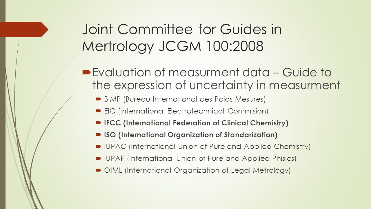 Joint Committee for Guides in Mertrology JCGM 100:2008  Evaluation of measurment data – Guide to the expression of uncertainty in measurment  BIMP (