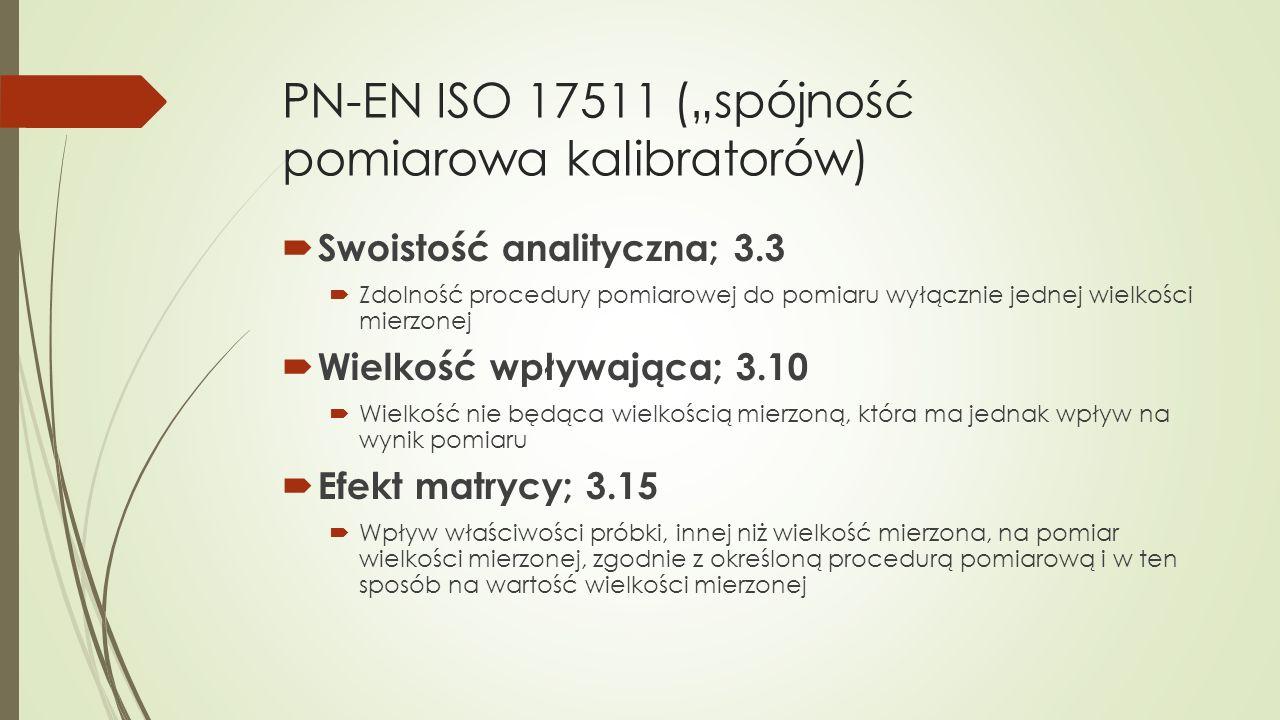 """PN-EN ISO 17511 (""""spójność pomiarowa kalibratorów)  Swoistość analityczna; 3.3  Zdolność procedury pomiarowej do pomiaru wyłącznie jednej wielkości"""