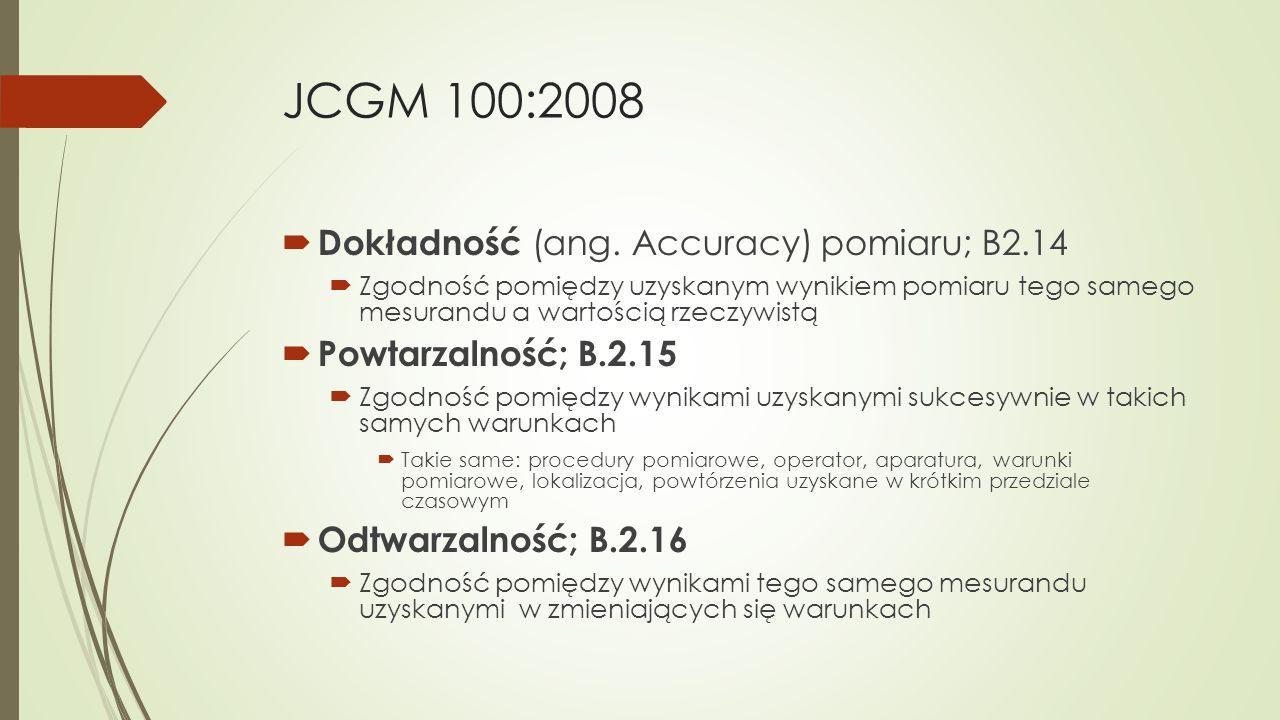 JCGM 100:2008  Dokładność (ang. Accuracy) pomiaru; B2.14  Zgodność pomiędzy uzyskanym wynikiem pomiaru tego samego mesurandu a wartością rzeczywistą