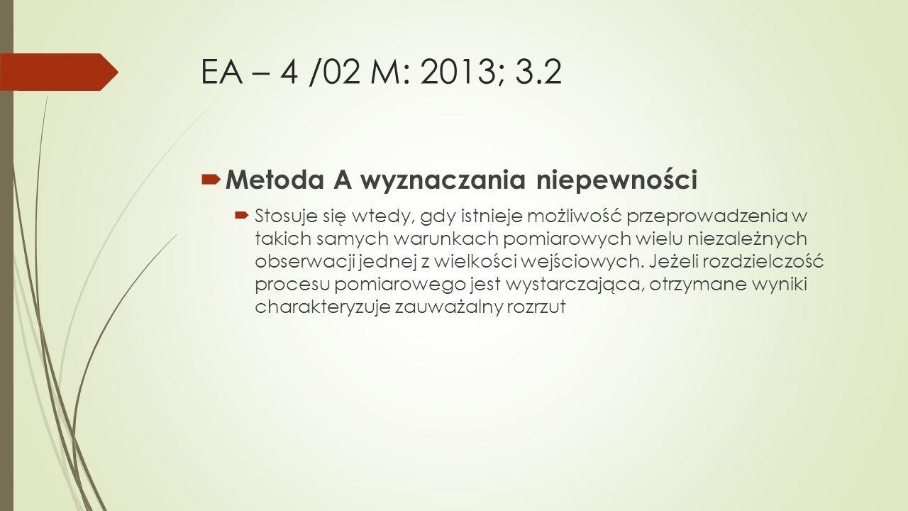 EA – 4 /02 M: 2013; 3.2  Metoda A wyznaczania niepewności  Stosuje się wtedy, gdy istnieje możliwość przeprowadzenia w takich samych warunkach pomia