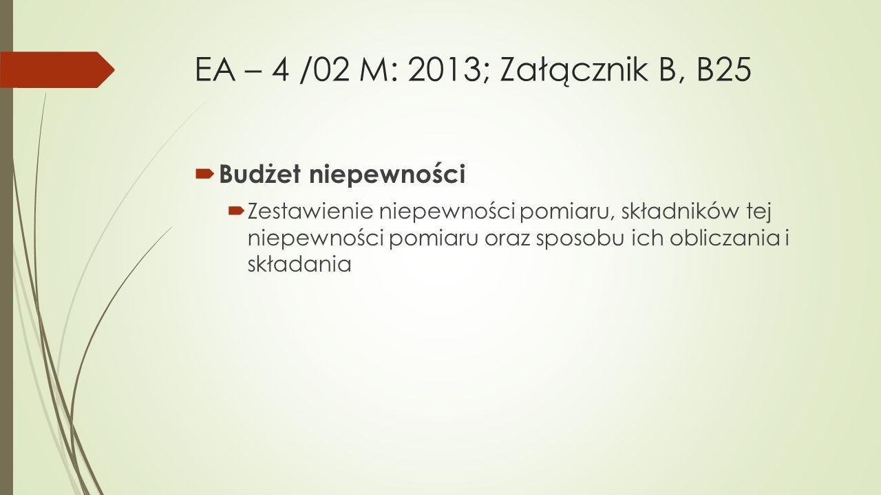 EA – 4 /02 M: 2013; Załącznik B, B25  Budżet niepewności  Zestawienie niepewności pomiaru, składników tej niepewności pomiaru oraz sposobu ich oblic