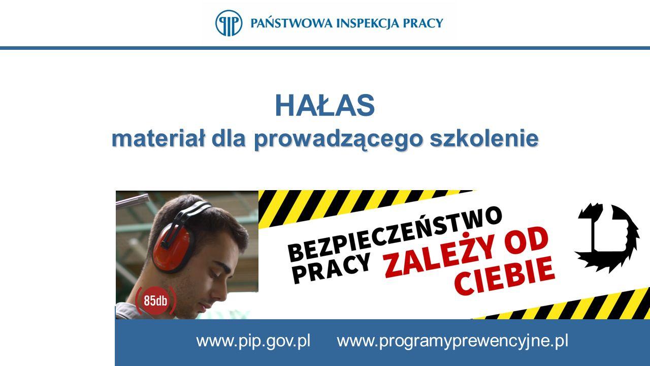 www.pip.gov.pl www.programyprewencyjne.pl HAŁAS materiał dla prowadzącego szkolenie www.pip.gov.pl www.programyprewencyjne.pl
