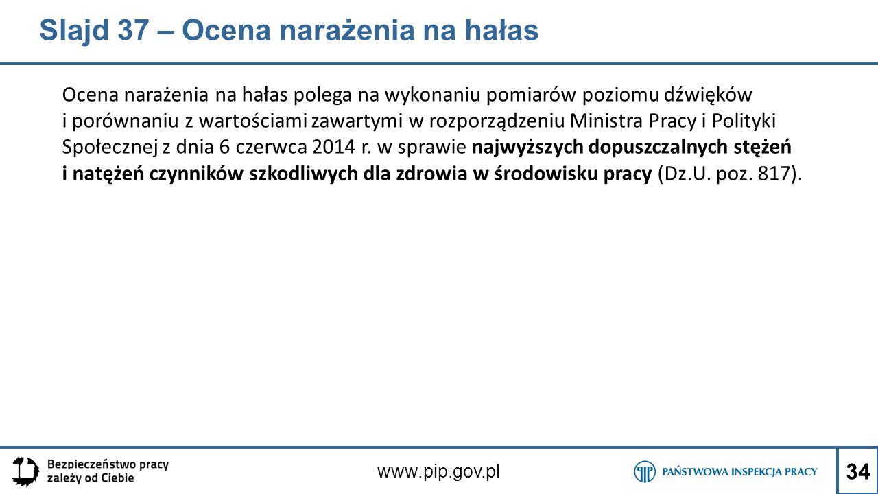Slajd 37 – Ocena narażenia na hałas Ocena narażenia na hałas polega na wykonaniu pomiarów poziomu dźwięków i porównaniu z wartościami zawartymi w rozporządzeniu Ministra Pracy i Polityki Społecznej z dnia 6 czerwca 2014 r.