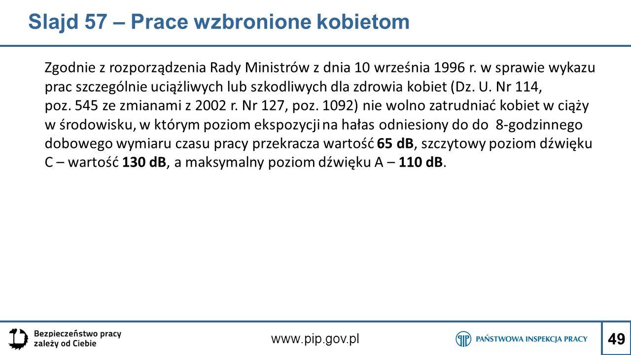Slajd 57 – Prace wzbronione kobietom Zgodnie z rozporządzenia Rady Ministrów z dnia 10 września 1996 r. w sprawie wykazu prac szczególnie uciążliwych