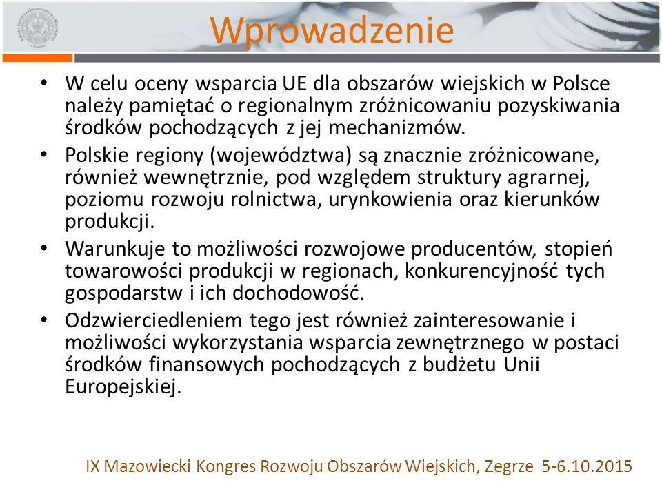 Wprowadzenie W celu oceny wsparcia UE dla obszarów wiejskich w Polsce należy pamiętać o regionalnym zróżnicowaniu pozyskiwania środków pochodzących z jej mechanizmów.