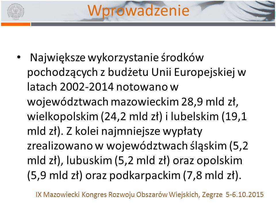 Wprowadzenie Największe wykorzystanie środków pochodzących z budżetu Unii Europejskiej w latach 2002-2014 notowano w województwach mazowieckim 28,9 mld zł, wielkopolskim (24,2 mld zł) i lubelskim (19,1 mld zł).