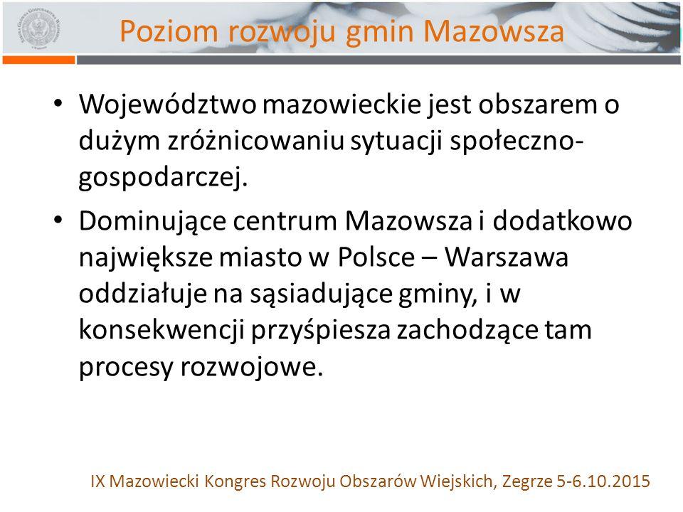 Poziom rozwoju gmin Mazowsza Województwo mazowieckie jest obszarem o dużym zróżnicowaniu sytuacji społeczno- gospodarczej.