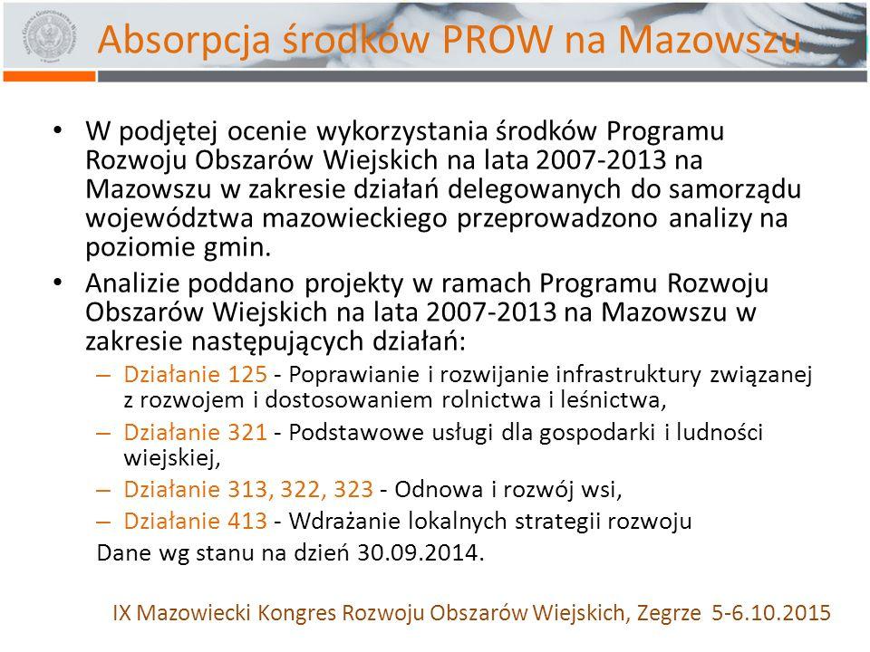 W podjętej ocenie wykorzystania środków Programu Rozwoju Obszarów Wiejskich na lata 2007-2013 na Mazowszu w zakresie działań delegowanych do samorządu województwa mazowieckiego przeprowadzono analizy na poziomie gmin.