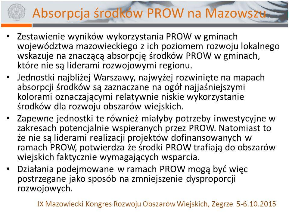 Zestawienie wyników wykorzystania PROW w gminach województwa mazowieckiego z ich poziomem rozwoju lokalnego wskazuje na znaczącą absorpcję środków PROW w gminach, które nie są liderami rozwojowymi regionu.