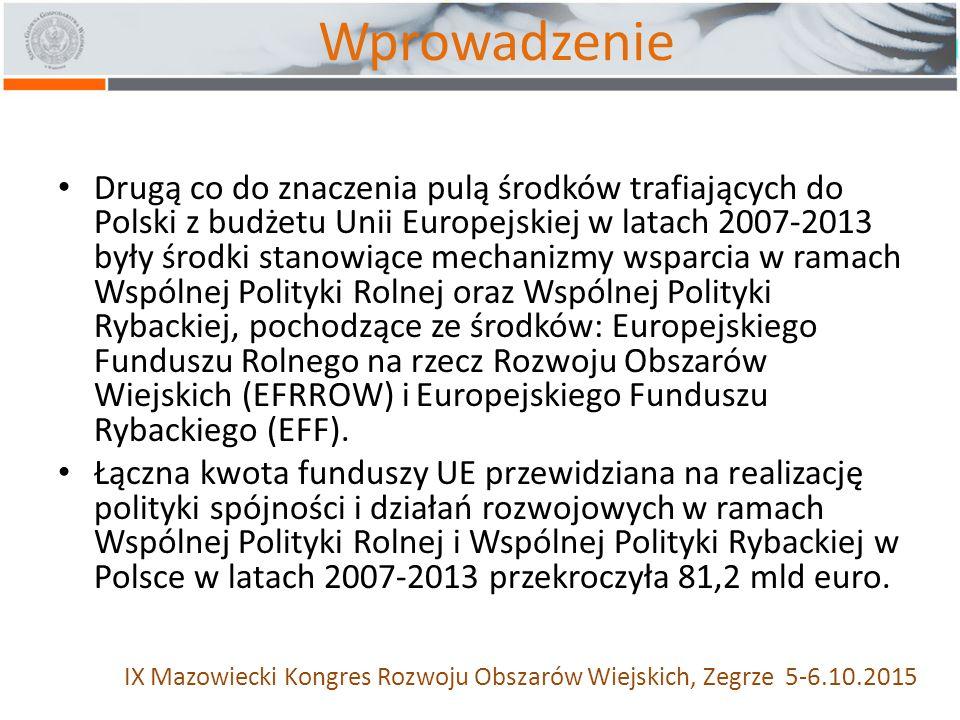 Wprowadzenie Drugą co do znaczenia pulą środków trafiających do Polski z budżetu Unii Europejskiej w latach 2007-2013 były środki stanowiące mechanizmy wsparcia w ramach Wspólnej Polityki Rolnej oraz Wspólnej Polityki Rybackiej, pochodzące ze środków: Europejskiego Funduszu Rolnego na rzecz Rozwoju Obszarów Wiejskich (EFRROW) i Europejskiego Funduszu Rybackiego (EFF).