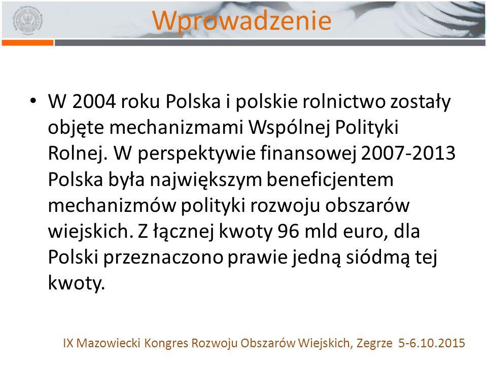 Wprowadzenie W 2004 roku Polska i polskie rolnictwo zostały objęte mechanizmami Wspólnej Polityki Rolnej.
