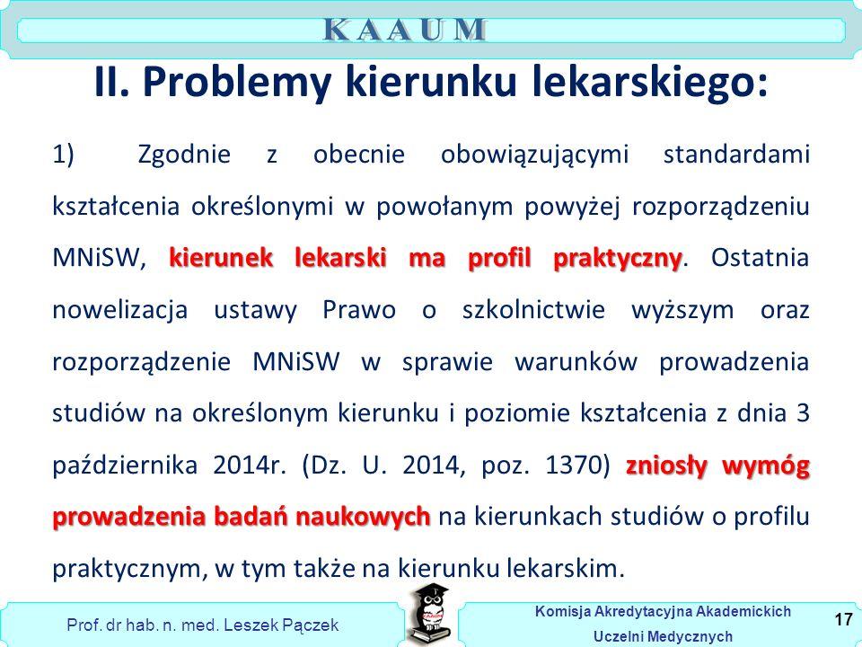 Prof. dr hab. n. med. Leszek Pączek Komisja Akredytacyjna Akademickich Uczelni Medycznych II.