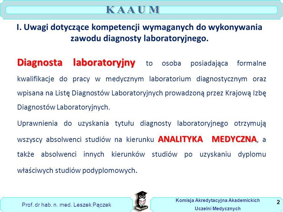Prof. dr hab. n. med. Leszek Pączek Komisja Akredytacyjna Akademickich Uczelni Medycznych I.